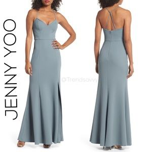 NWT Jenny Yoo Collection Reese Crepe Knit Gown 16